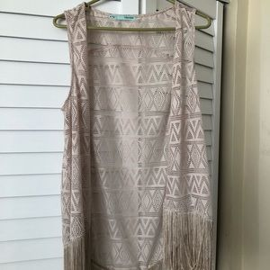 Beige Fringe Sleeveless Duster!